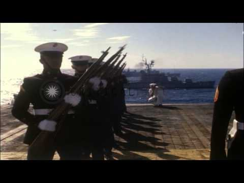 Burial at Sea for Lieutenant Commander Omar R. Ford, who perished in fire aboard ...HD Stock Footage