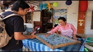 หลวงพระบาง สปป.ลาว หมู่บ้านทำกระดาษสา ผ้าไหม ผ้าย้อมคราม ลาว