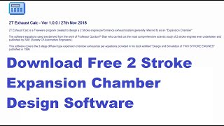Free 2 Stroke Exhaust Expansion Chamber Calculator