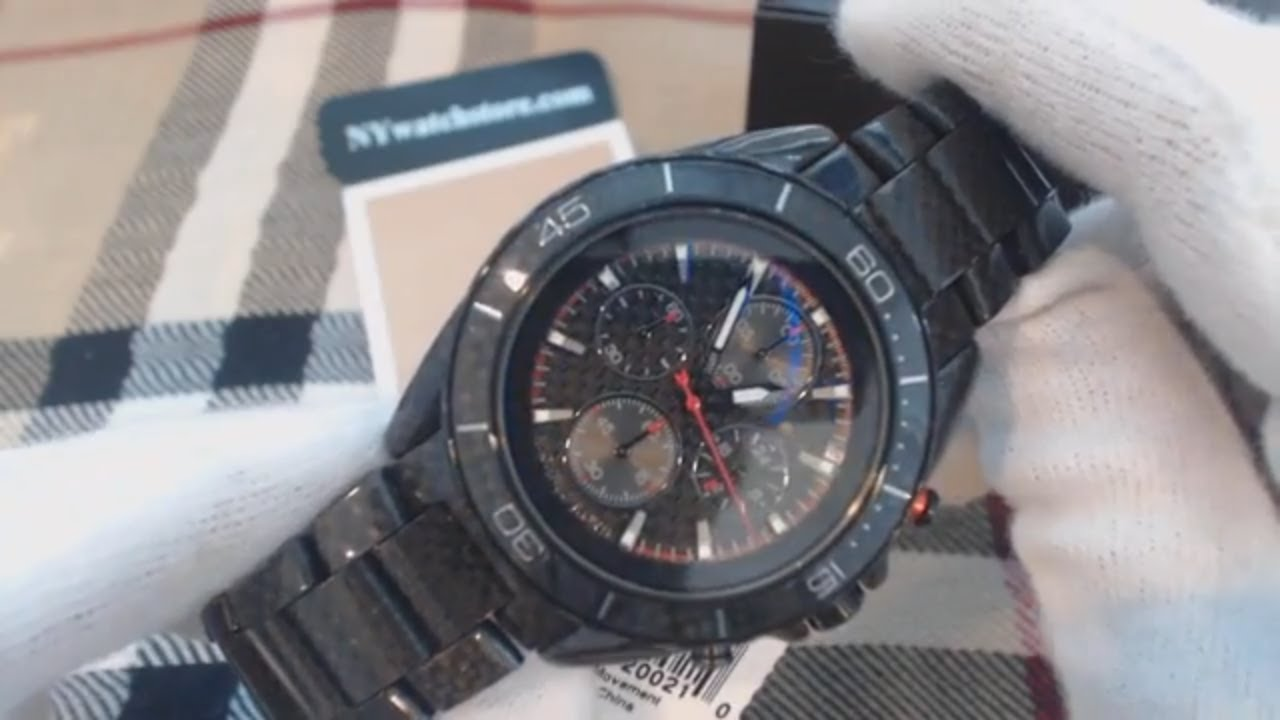 3454c233c25d Men s Michael Kors Jetmaster Black Carbon Fiber Chronograph Watch MK8455