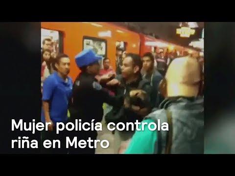 Mujer policía controla riña en Metro de la CDMX - Las Noticias con Danielle