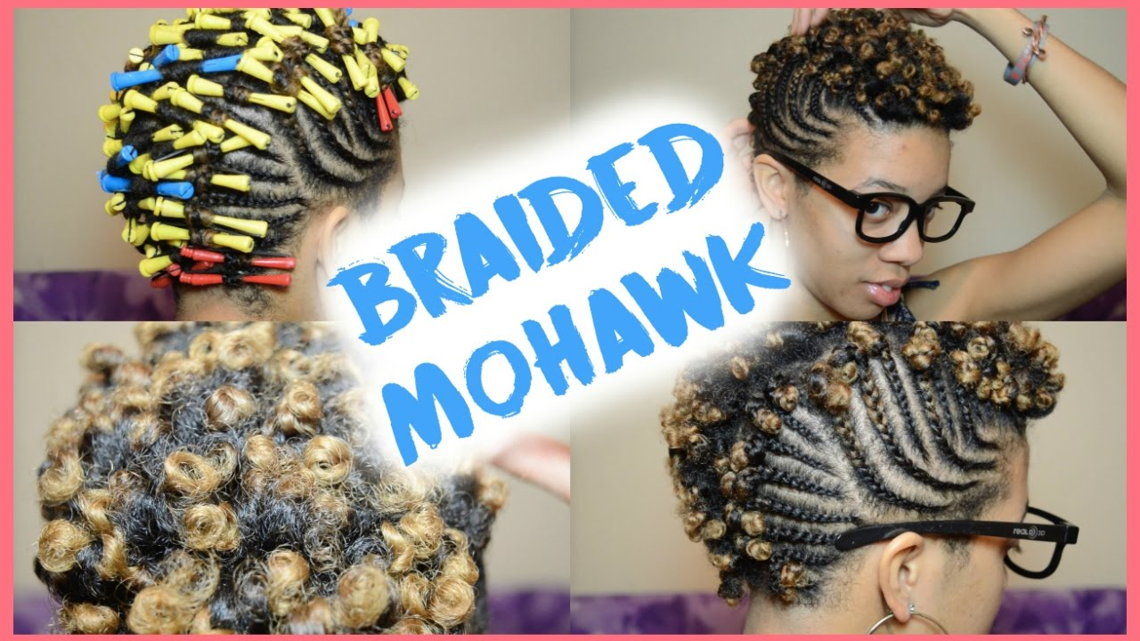 Twa Braided Mohawk With Curls Short Natural Hair Youtube