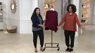 AnyBody Loungewear Ribbed Brushed Hacci Soft Funnel Neck Top on QVC