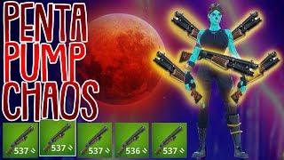 PENTA PUMPGUN CHAOS! | 5 Pump Challenge | Fortnite Battle Royale