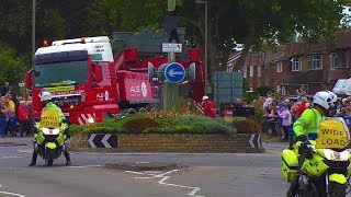 70m 145 tonne lorry meets small Surrey roundabout.
