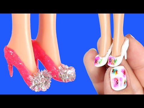 10 COOL DIY BARBIE SHOES COLLECTION | Miniature Doll Hacks and Crafts!
