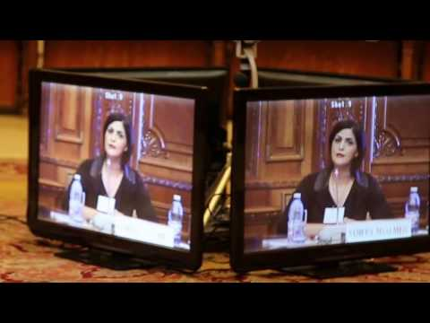 Samira Masalmah at the Romanian  Parliament