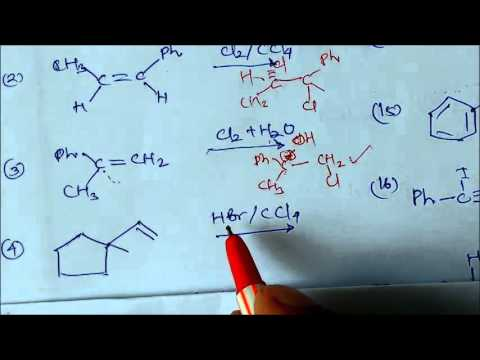 Addition Of Bromine -water,Bromine In CCl4 Etc In Alkene -Anti Markownikoff Rule