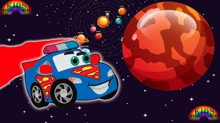 Superman Car learn Planets | first grade learn planet KIDS EDUCATION cartoon
