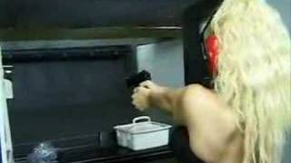 Porn Star Sky Lopez goes to the firing range