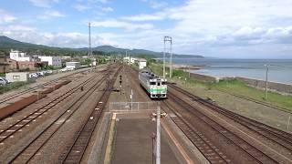函館本線 キハ40系 普通列車 森駅に到着