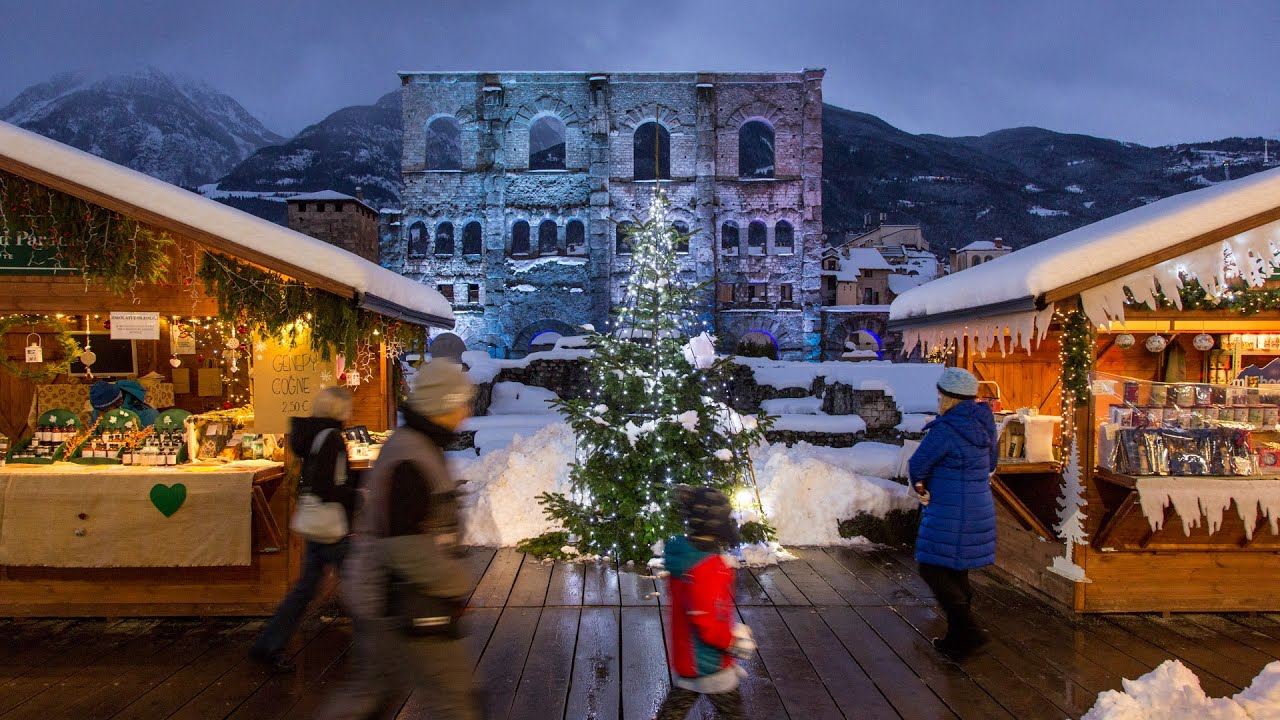 Una visita ai mercatini, consente non solo … Mercatino Di Natale Di Aosta In Hyperlapse Marche Vert Noel Youtube