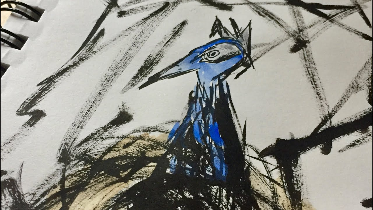 Drawing Abstract Blue Bird In A Nest With Brush Pen And Watercolors Speed Painting