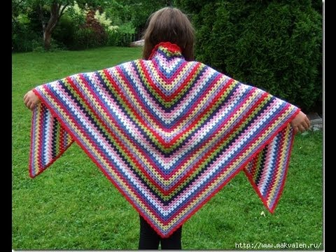 how to crochet shawl free pattern for beginer - YouTube