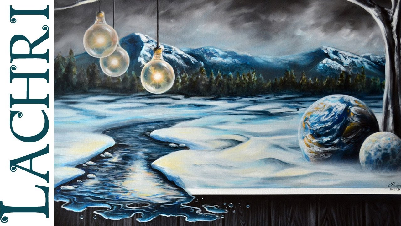 time lapse surreal winter landscape in acrylic and oil