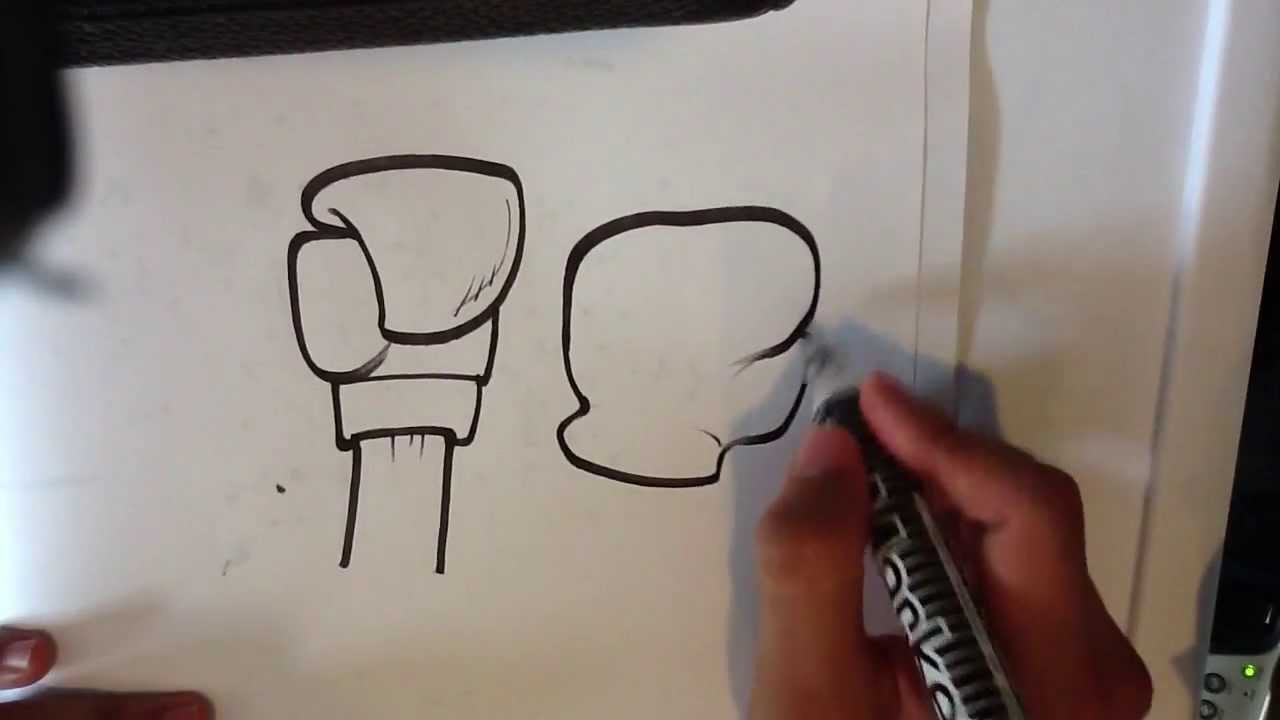 How To Draw A Boxing Glove Easy Things To Draw Youtube
