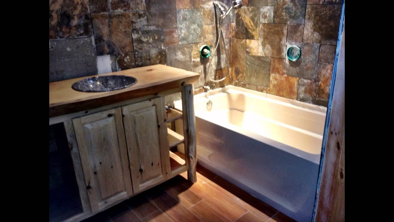 cabin bathrooms.  Nicely Done Co log cabin style bathroom YouTube