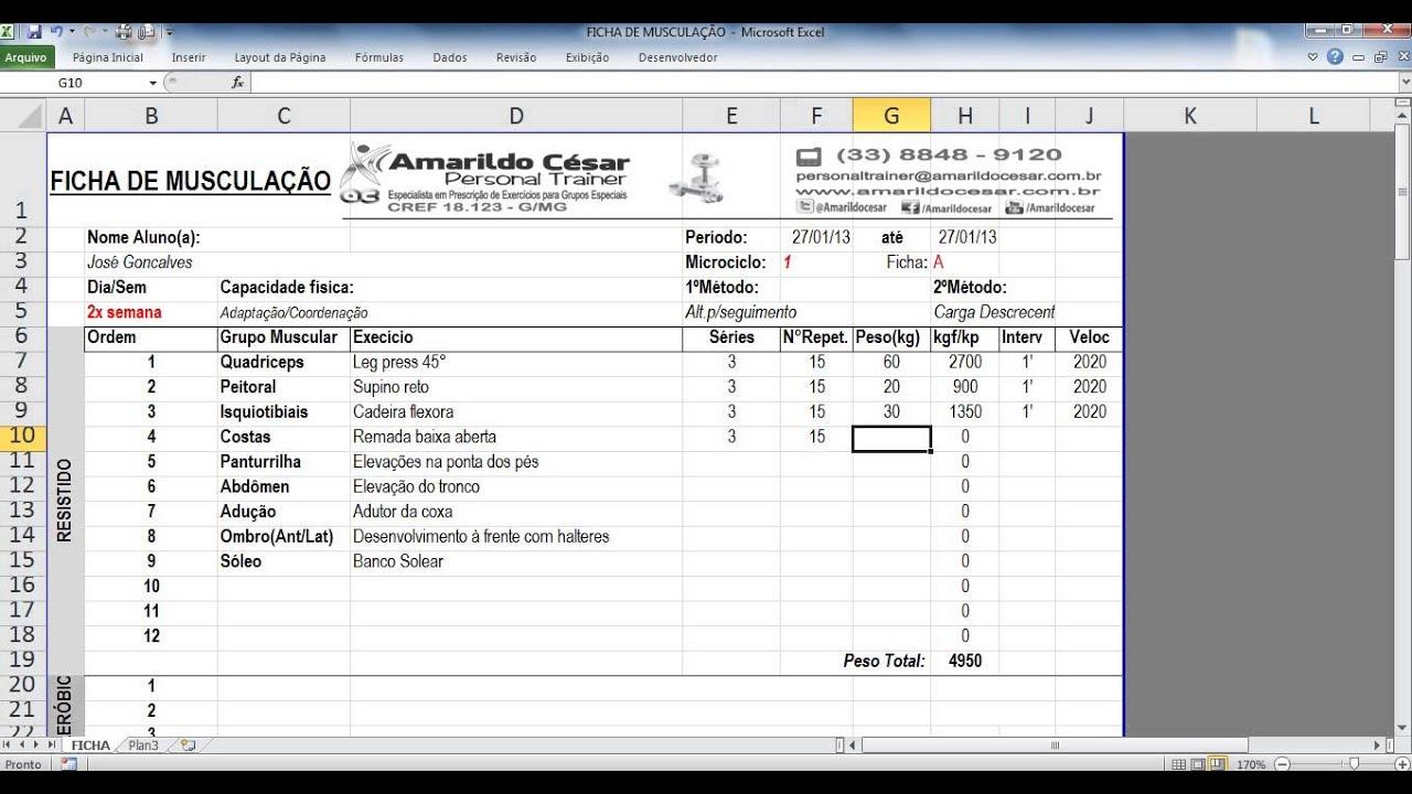 Populares Ficha de Musculação no Excel (Amarildo César) - Adquira a sua já  VP47