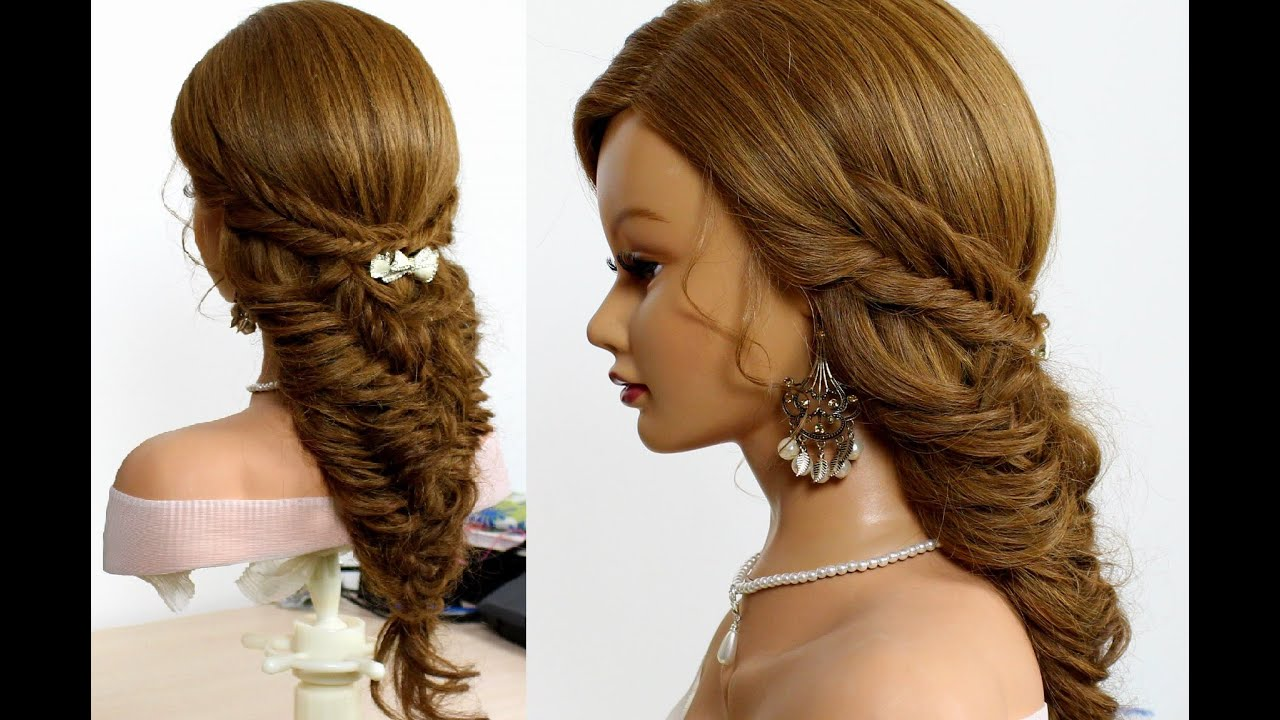Easy bridal hairstyle for long hair tutorial. Fishtail ...