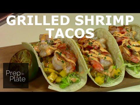 Grilled Shrimp Tacos with Mango Salsa and Sriracha Lime Aioli