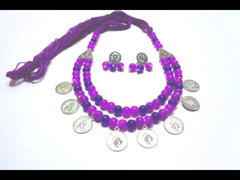 How to Make Coin Necklace With Earring  // German Silver Glass Beads Necklace Making Idea at Home
