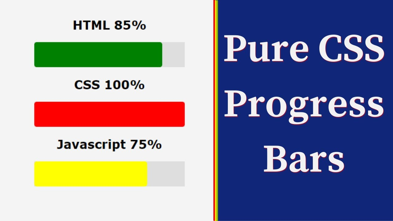 HOW TO CREATE DYNAMIC PROGRESS BARS WITH PURE CSS    CSS TUTORIAL FOR BEGINNERS
