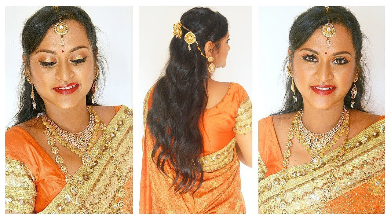 South Indian Bridal Reception Makeup Hairstyle In Tamil Step By
