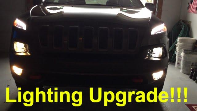 Halogen Lighting Upgrade!!! - 2015 Jeep Cherokee Trialhawk - YouTube