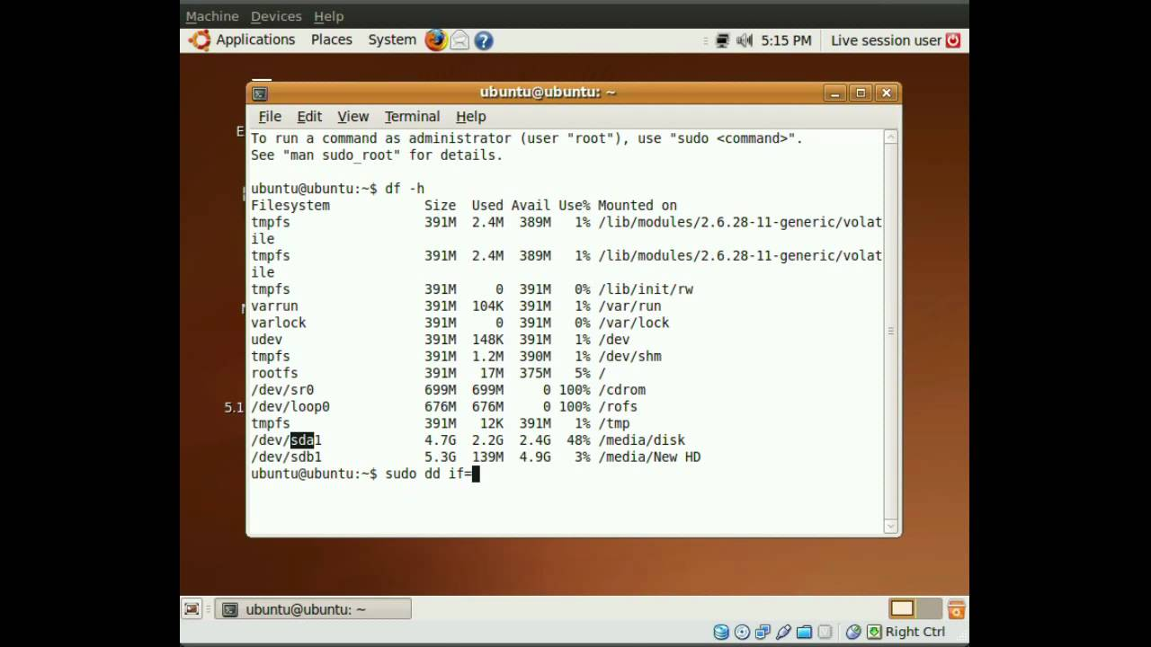 Cloning a hard drive using the Ubuntu live CD #4