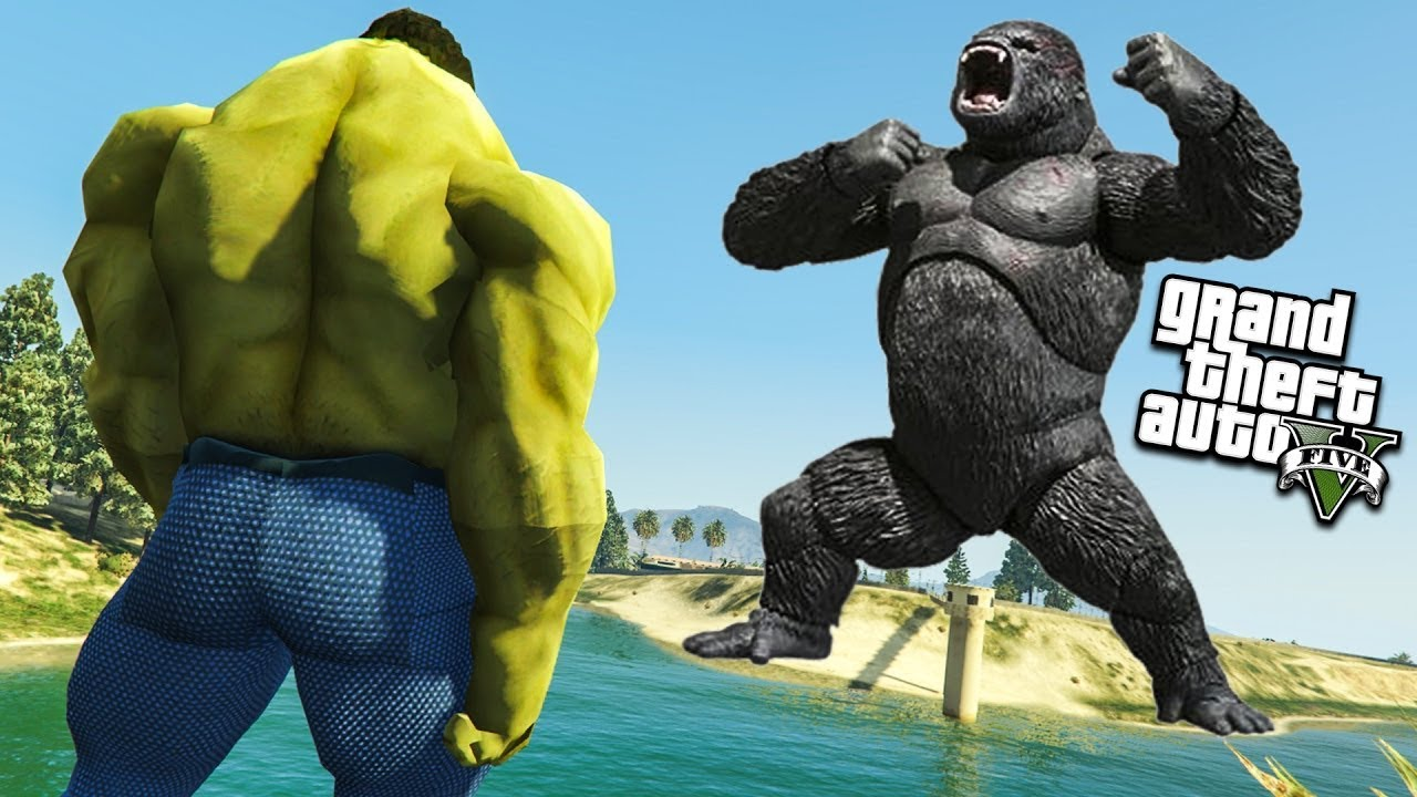 GTA 5 - HULK VS GORILLA FIGHT TO SAVE LOS SANTOS! || (GTA 5 mods)