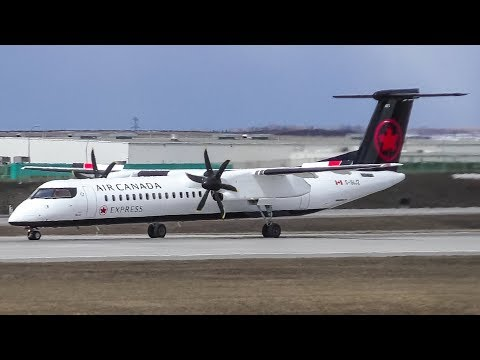 Air Canada Express New Livery Bombardier Q400 Landing and Takeoff at Calgary Airport