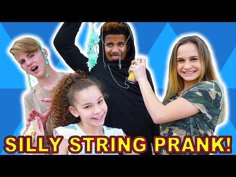 Silly String Prank! - Liv & Olivia PRANK MattyBRaps & Justin!