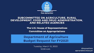 Department of Agriculture Budget Request for FY2021 (EventID=110674)
