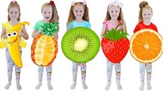 Learn Color with Fruits Five Little Babies Jumping On The Bed Educational Videos Good Song for Kids