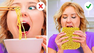 How to Eat Nooḋles Like a Pro🍜 ORDINARY FOODS YOU'RE EATING WRONG!