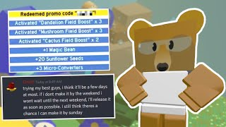 Pre-Update Code + Crafting Recipes for The New Items! (Roblox Bee Swarm Simulator)