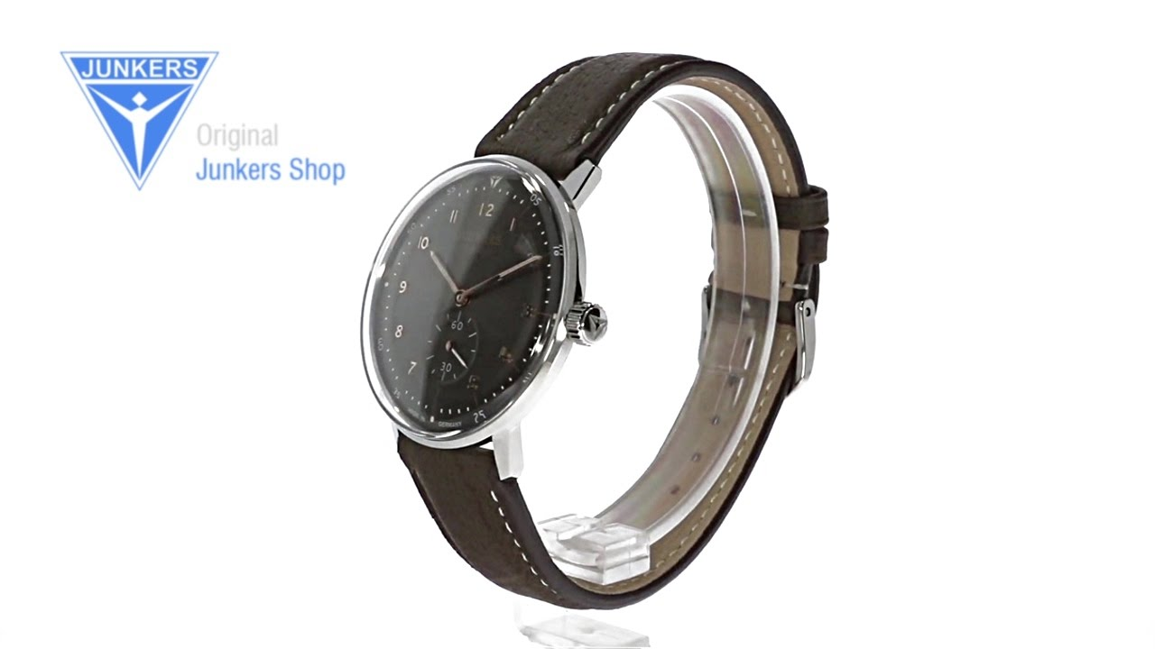 Junkers 6060-2 Bauhaus 40mm Automatic Leather Strap Watch with .