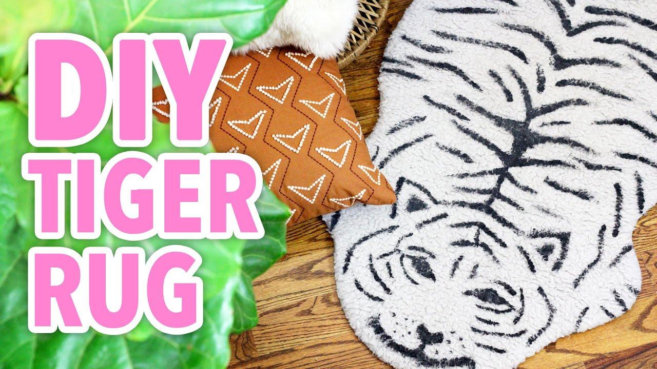 もこもこカーペットでタイガーラグを作ろう☆とらの絨毯DIY!