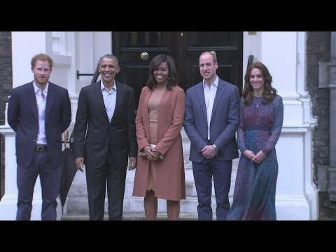 President Obama greeted by Duke and Duchess of Cambridge