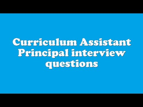 Curriculum Assistant Principal interview questions - YouTube