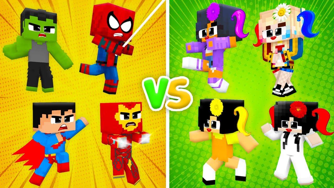 Monster School : SUPERHEROES Hulk Ironman LOVE CURSE Squid Game Zombie Girls - Minecraft Animation