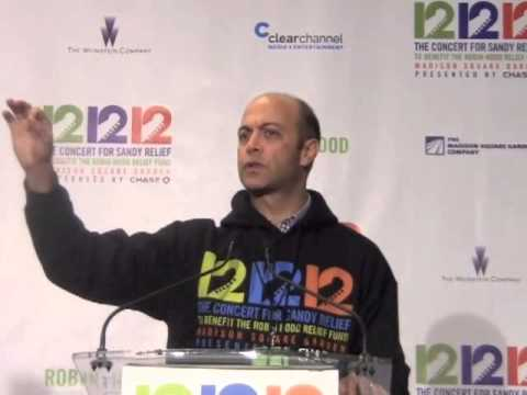 David Saltzman Of The Robin Hood Foundation Speaks At 12-12-12 Concert