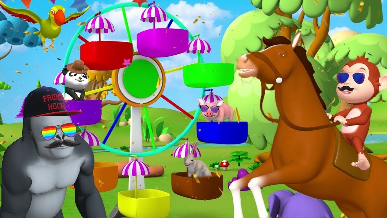Funny Forest Animals Ride Ferris Wheel Amusement Ride in Jungle | Animals Cartoons Comedy Video