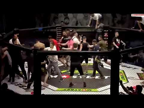 Post-fight MMA brawl R3 fighting championship Moscow