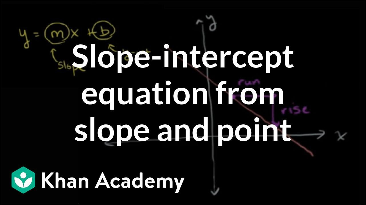 slope intercept form khan academy  Slope-intercept equation from slope & point (video) | Khan ...