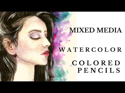 Watercolor & Colored Pencils | Mixed Media | Woman Portrait | Speedpaint | Time Lapse Painting