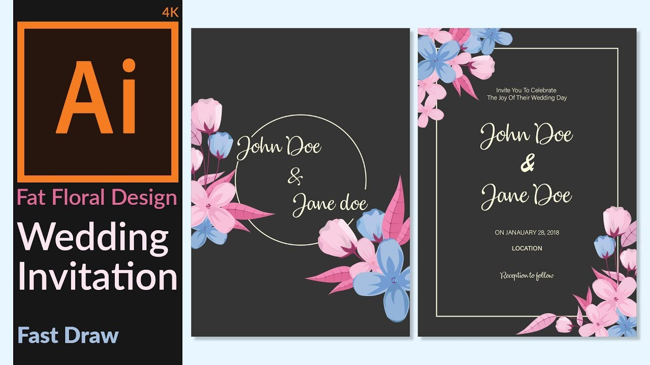Wedding invitation card designing in adobe illustrator cc wedding invitation card designing in adobe illustrator cc minimalist flat floral design stopboris Image collections