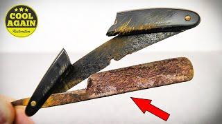 Restoration Rusty Straight Razor with Amazing Masterpiece Handle
