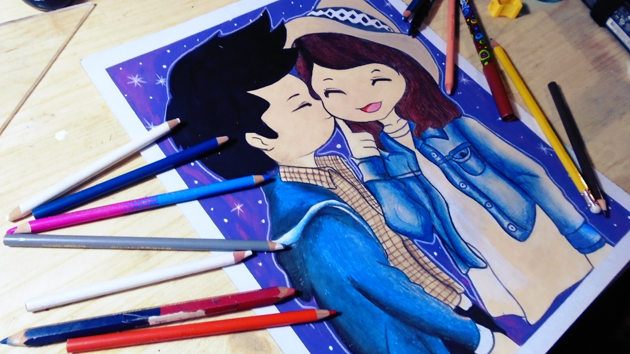 Dibujando A Una Pareja Enamorada Dibujos De Amor Youtube