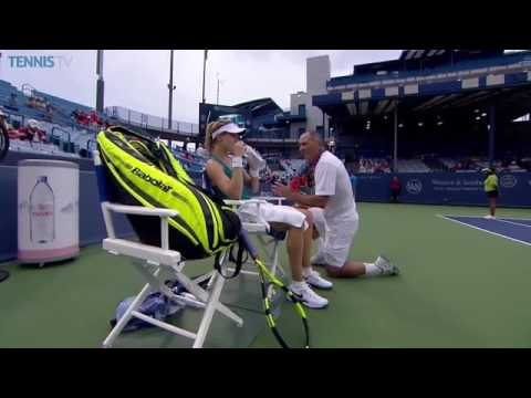 Genie Bouchard and Nick Saviano | On-Court Coaching | Western and Southern Open